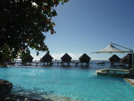 Manava Beach Resort & Spa - Moorea: The pool and the over-the-sea bungalow behind
