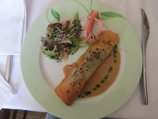Hotel-Restaurant Bellevue : croustillant de crabe et langoustines