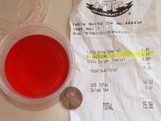 Wings Etc: 59 cent no-warning charge for a splash of vinegar