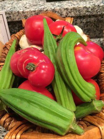 Greenport Farmers' Market, Inc.: Okra from Mar-Gene Farms and Tomatoes from Invincible Farms