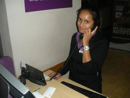 Premier Inn London County Hall Hotel: Rahella helping a customer