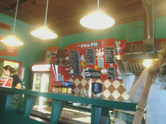 The Pita Pit: One view of ordering boards behind counter.