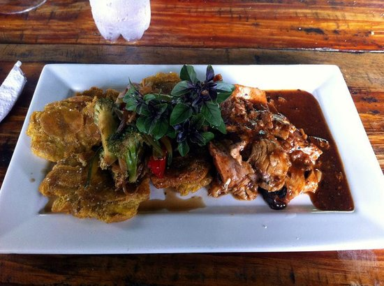 Fire Side Inn - Georges' Grill: Roasted BBQ Pork Loin with fried plantains