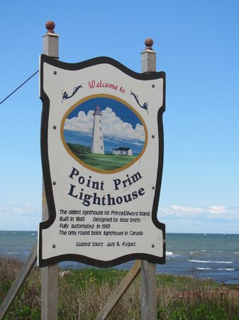 Sign at entrance road to Point Prim Lighthouse