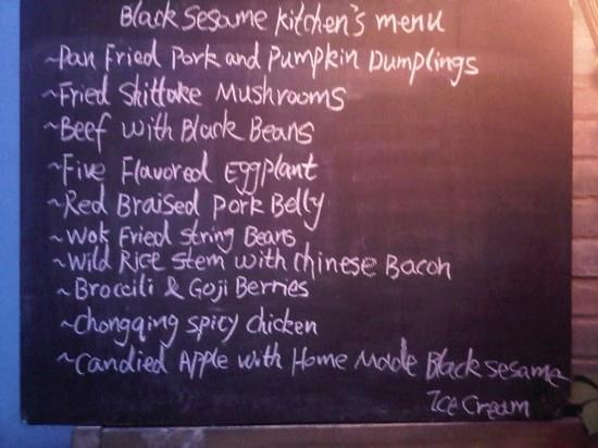 Black Sesame Kitchen: BSK Menu