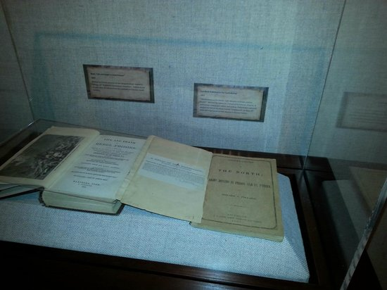 National Civil War Museum: Printed information behind glass case