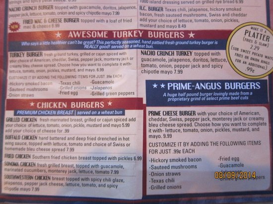 Menu Picture Of River City Cafe North Myrtle Beach
