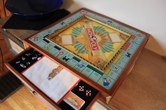Mustachio's On The Lake: Talk about a GREAT Monopoly board in the game room!
