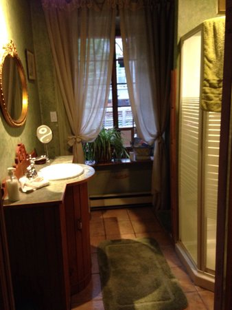 A l'Augustine: Bathroom. Shared between two bedrooms on second floor. Clean.  Watch the hot water ... The plate
