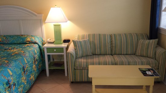 Island Inn of Atlantic Beach : Our room as you enter the door looking right--the bed & pull out sofa bed