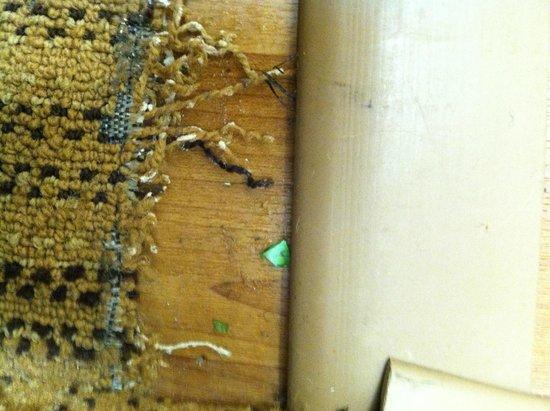 Crossland Economy Studios - Eugene - Springfield: frayed carpet and broken glass