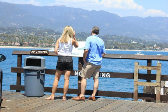 Santa Barbara Waterfront: A view from the pier looking back at the Santa Barbara shoreline