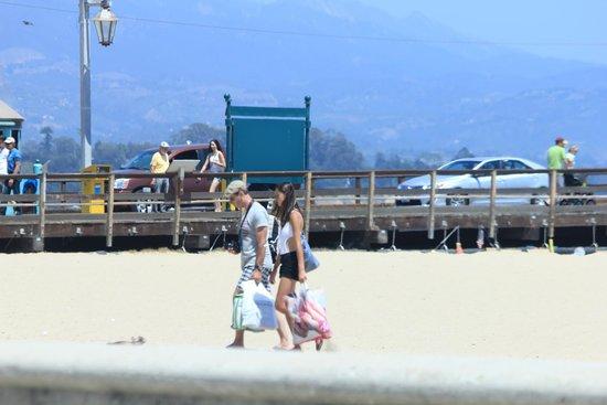 Santa Barbara Waterfront: Walking on the beach next to the pier
