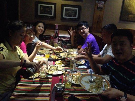 Shiva Guest House1 & 2: chinese group enjoying Dinner