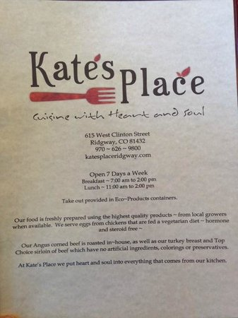 Kate's Place menu