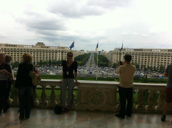 Ibis Bucharest Palatul Parlamentului: View from the Parliament house down the main street opposite the hotel
