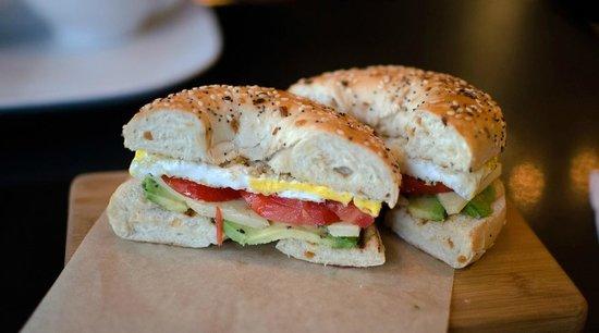 Mon Vert Cafe: avocado, tomato, egg & local Pawlet cheese bagel