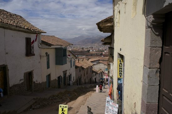 LOKI Cusco: Looking down into town from the front door.