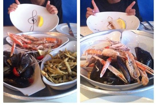 Paulus Kitchen : before and after seafood platter. Incredibly fresh and tasty.
