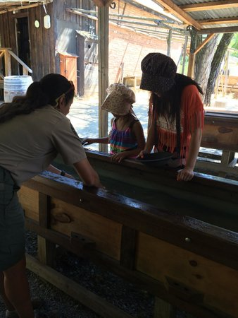 Marshall Gold Discovery State Historic Park: Panning for gold, our favorite were the garnets we found