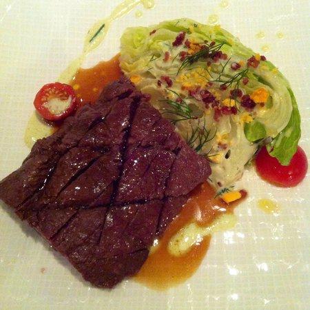 Roux at The Landau: Flat iron steak with iceberg lettuce. Amazing