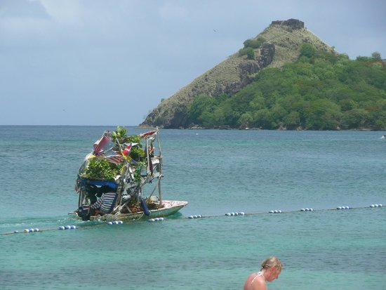 The Landings St. Lucia: This guys sells fresh fruit from his boat every day.