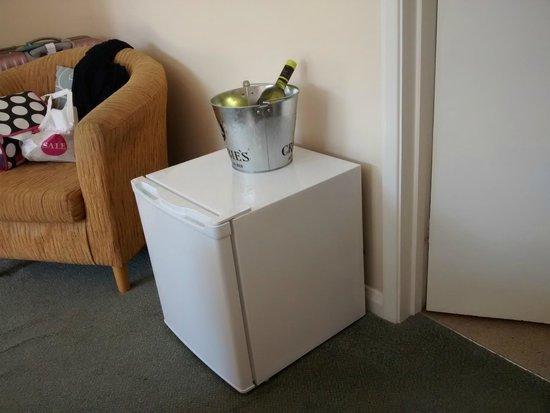 Warner Leisure Hotels Norton Grange Coastal Resort: Wine and mini fridge  and the ONE chair to sit on