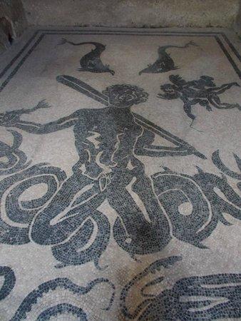 Ruins of Herculaneum: mosaic floor, Terme