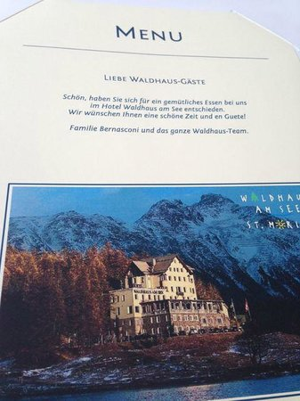 Hotel Waldhaus Am See: Menu from the restaurant of the Liebe Waldhaus-Gäste