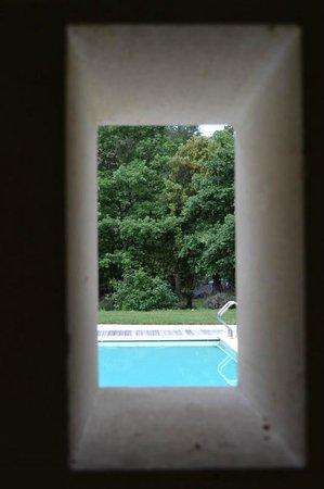 Le Bois Dormant : view from the shower to the pool