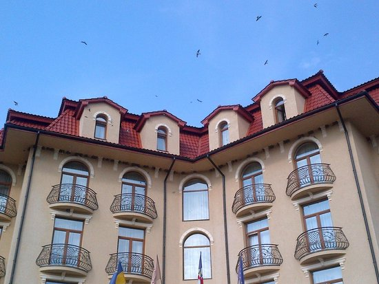 Grand Hotel Pylypets: underroof is covered with swallow nests :)