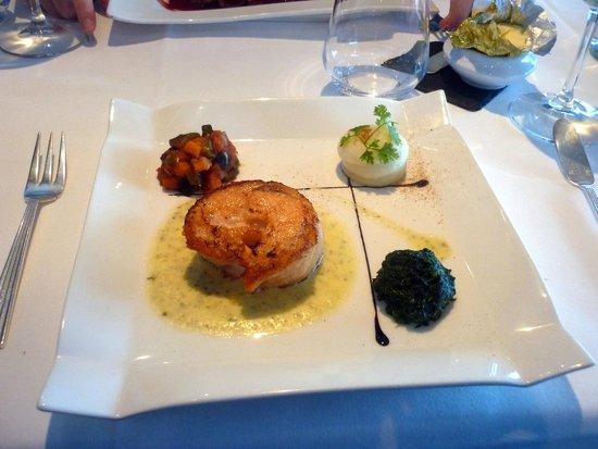 Aquar'Aile : Le plat, saumon épinard purée et quelques légumes