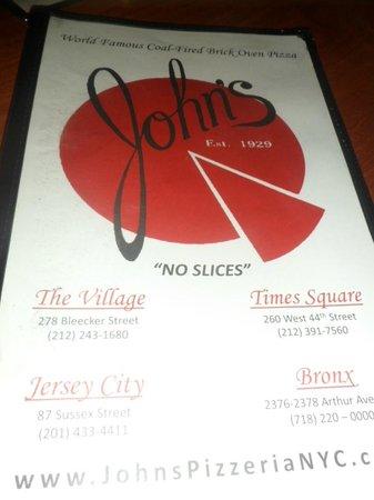 John's of Times Square : Menu