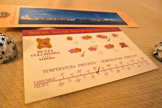 Hotel Colombina : Very useful receiving a weather forecast for the following day in our room each evening.