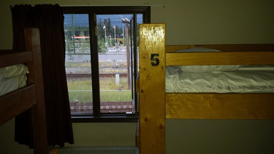 Hostel Bear: train track right out the window