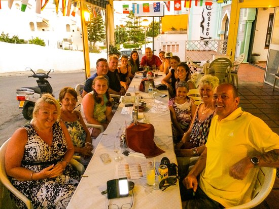 The Sportsman Bar and Restaurant: 4 families enjoying our dinners in July 2014