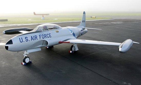 Aviation Heritage Park: T33 Shooting Star in honor of Gen Russ Dougherty, SAC Commander. Hear it on AHP radio