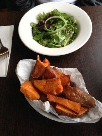 Cafe Sia: Sweet potatoe wedges, side  salad