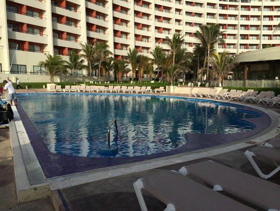 Crown Paradise Club Cancun: Main Building from the pool