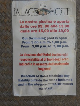 Grand Hotel Palace: Sécurité piscine.