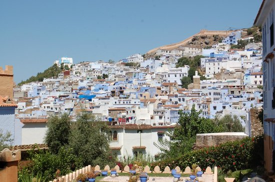 Dar Echchaouen: view of the town from the pool