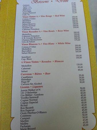 Casa Garcia : Le menu