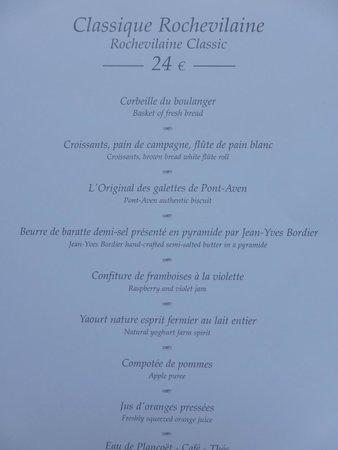 Domaine de Rochevilaine : Frühstücksmenü