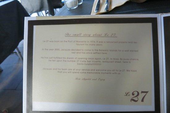 Le 27 Restaurante: Menue card