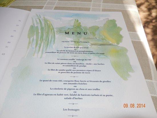 Illhaeusern, France : Un menu, de quoi rêver...