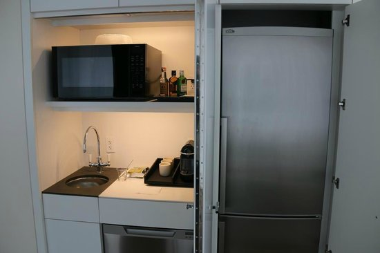 Andaz 5th Avenue: The kitchenette and fridge