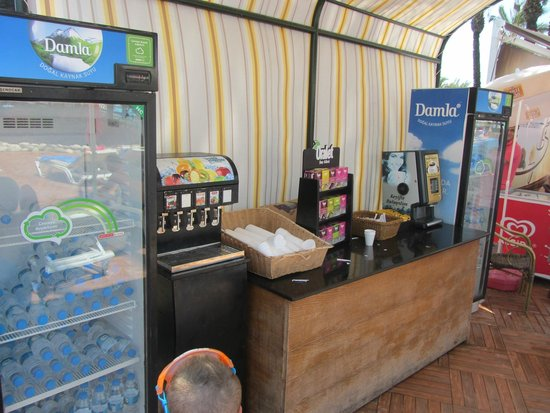 Pegasos World Hotel: one of the many drinks stations dotted around the resort.  Self serve and great idea