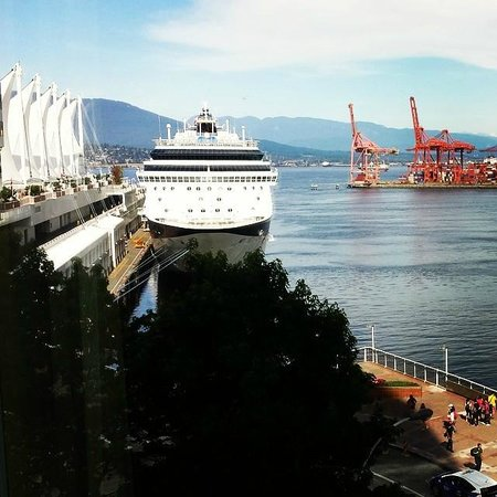 Fairmont Waterfront: View of the harbour and cruise ships from our room