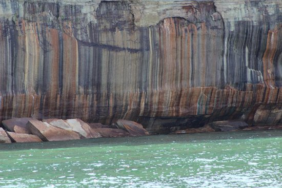 Pictured Rocks National Lakeshore: Awesome color streaks in the Pictured Rocks