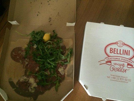 Bellini Trattoria: Carpaccio in pizza box